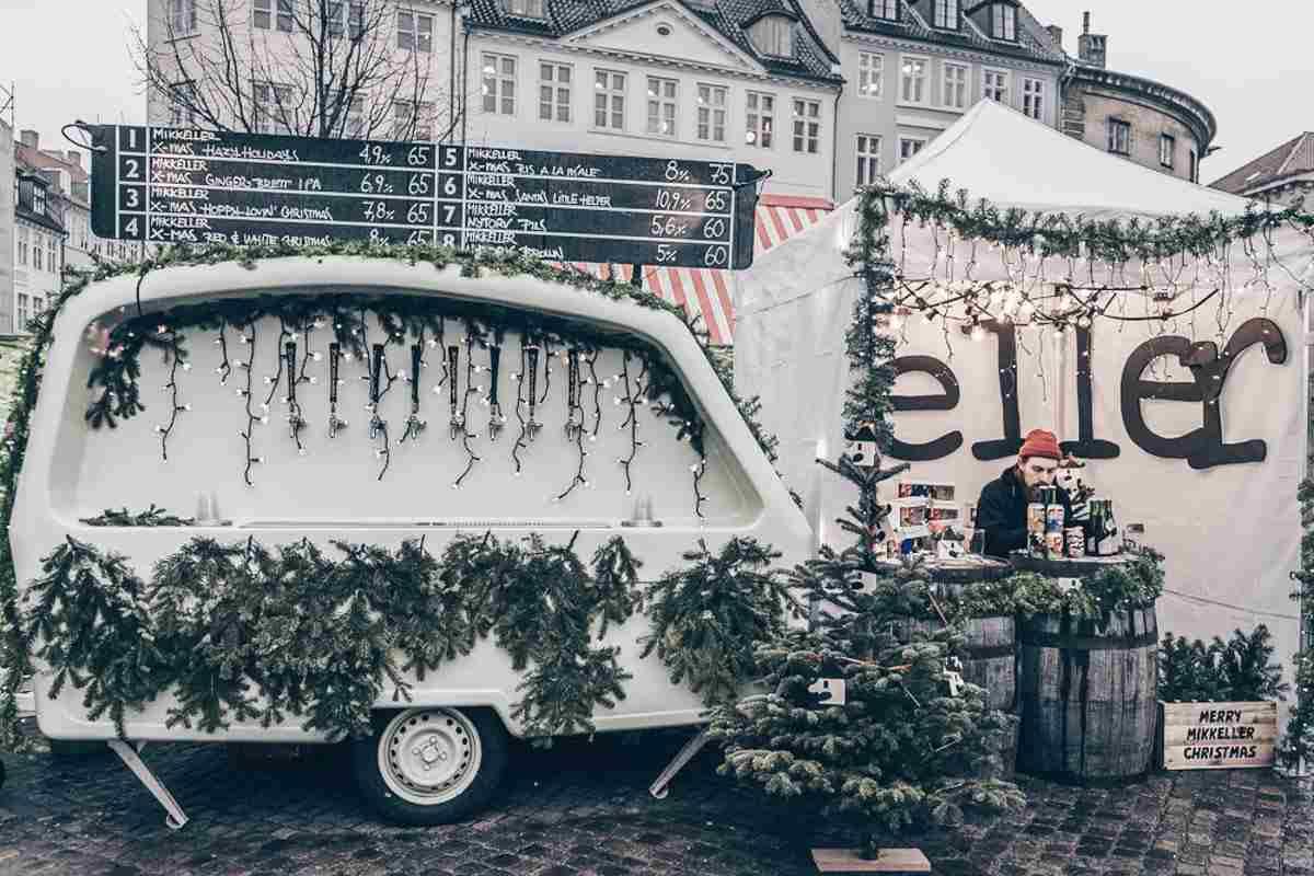Mikkeller beer on tap at a Christmas market in Copenhagen