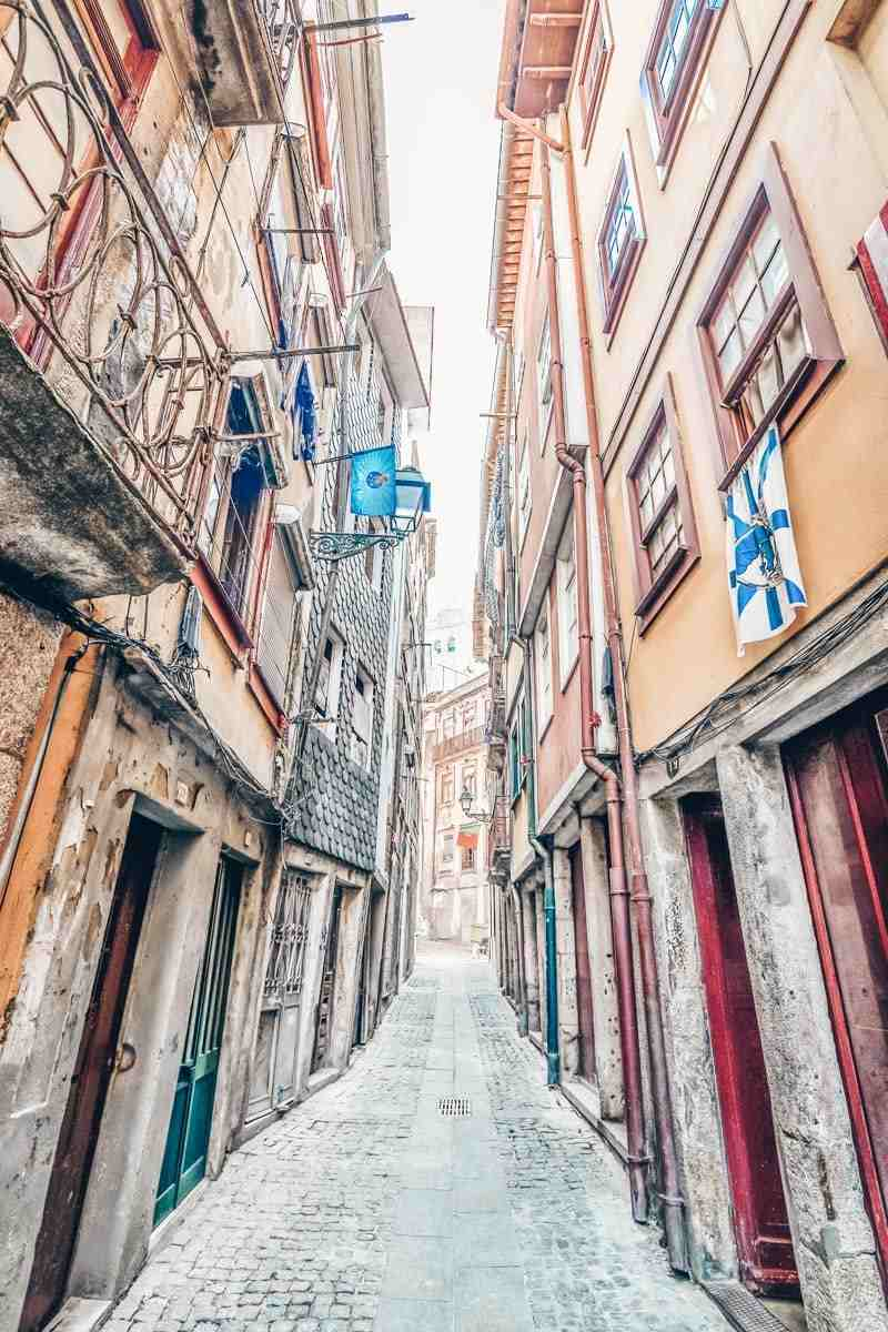 24 Hours in Porto: A steep and narrow cobblestone street in the Ribeira district
