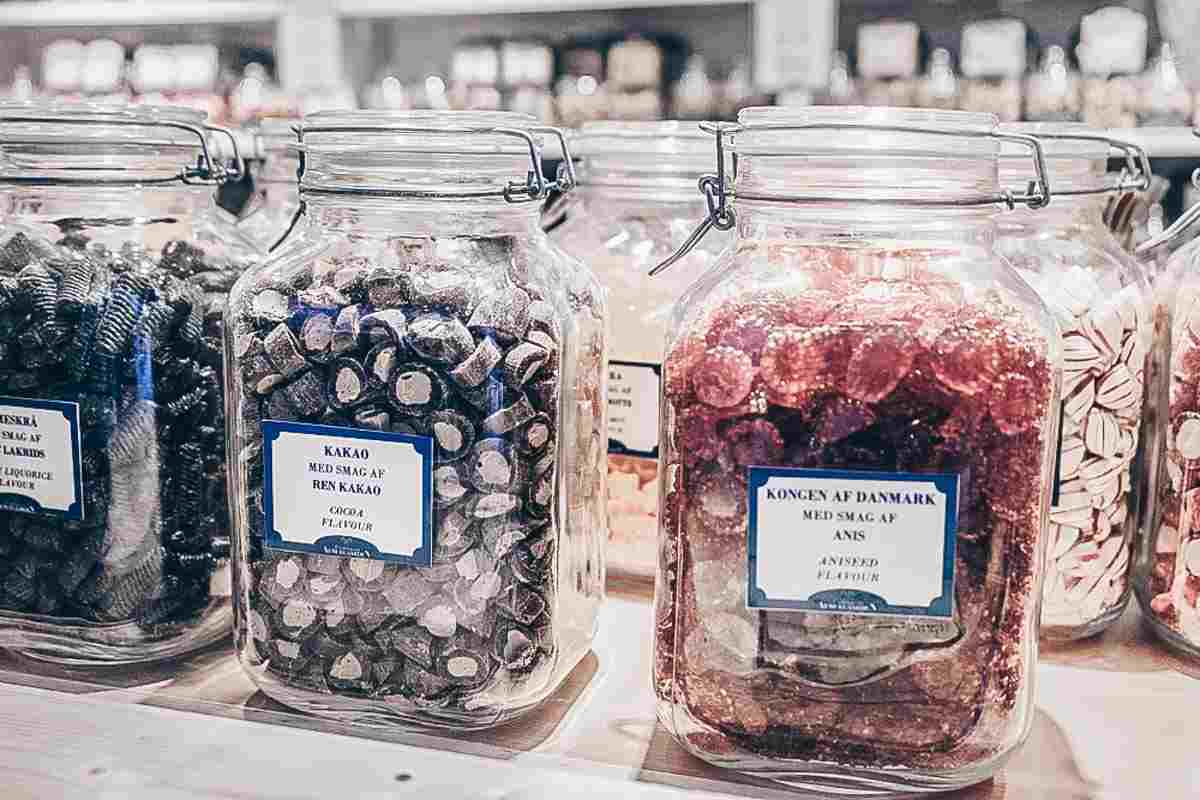 Candy on sale at Carlsberg Christmas market in Copenhagen