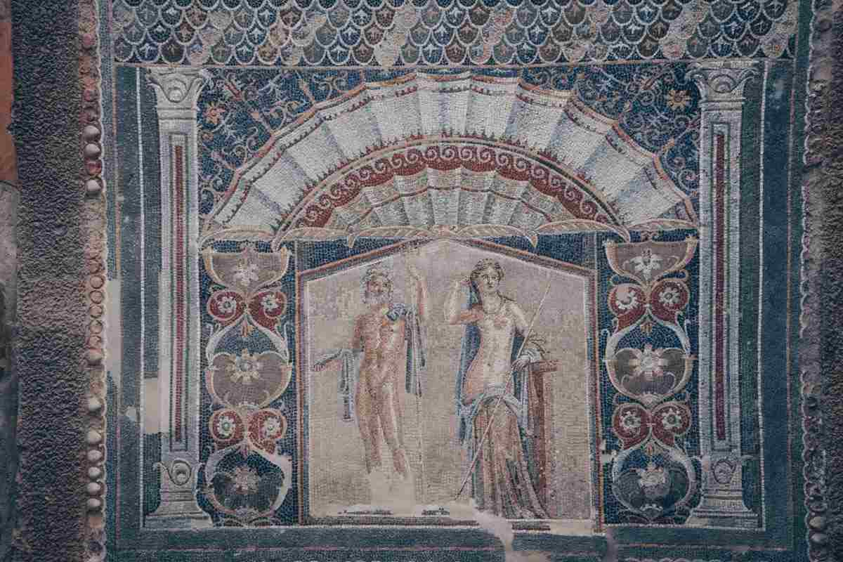 Herculaneum House of Neptune and Amphitrite: Striking mosaic of an ancient sea god and his nymph bride.