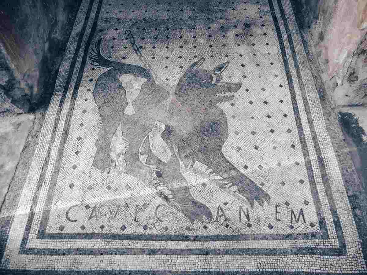 Pompeii House of the Tragic Poet: Mosaic of a chained dog bearing the inscription 'cave canem'