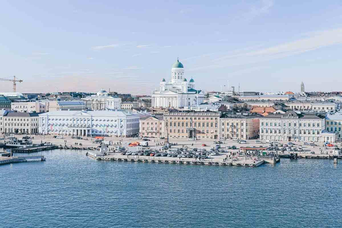 Things to do in Helsinki: Panorama of central Helsinki, the harbor and market square with Helsinki Cathedral in background.