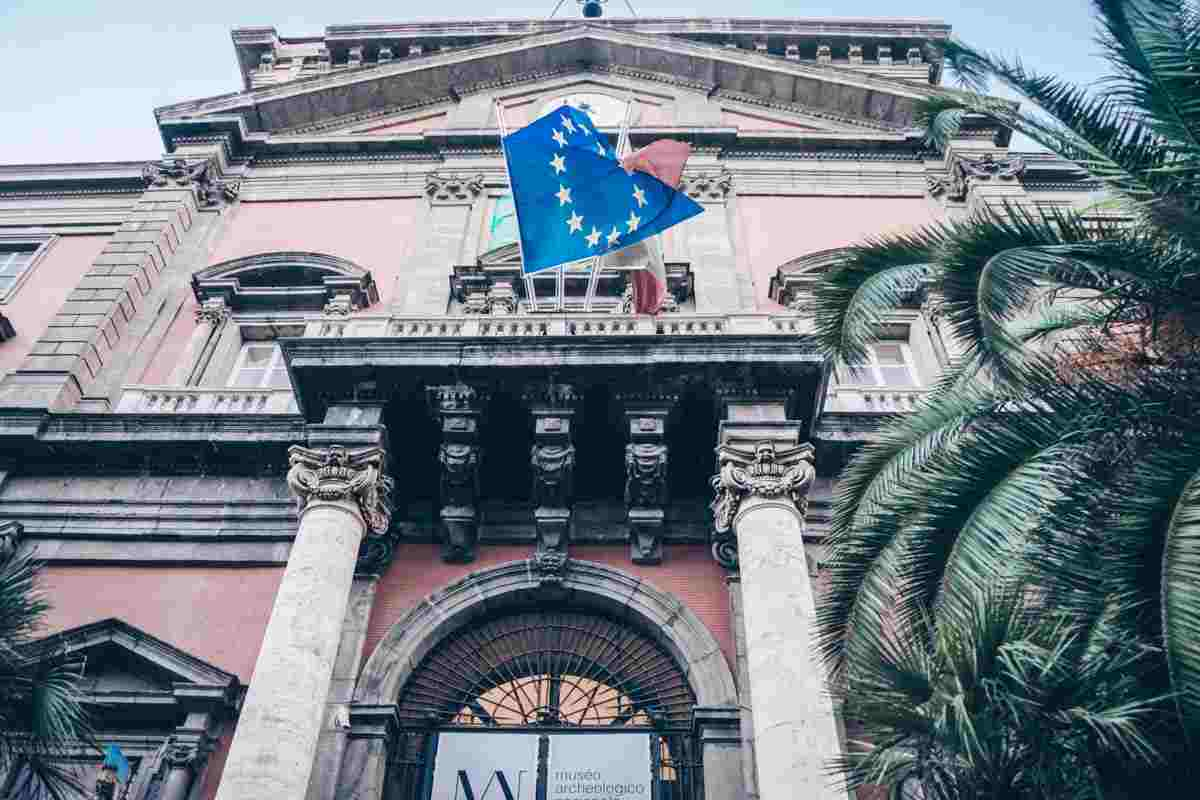 Naples sightseeing: Entrance of the National Archaeological Museum of Naples.
