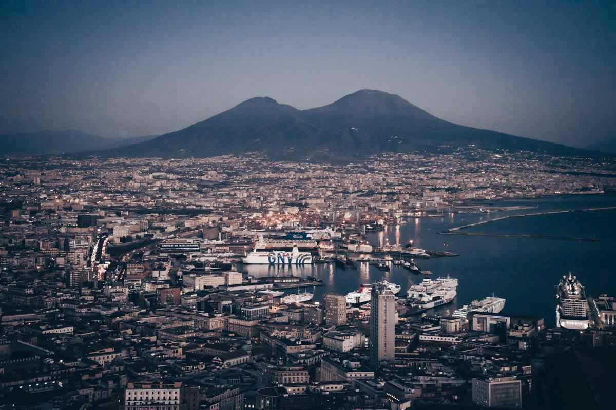 Naples: Panoramic view of Mt. Vesuvius and the Bay of Naples.
