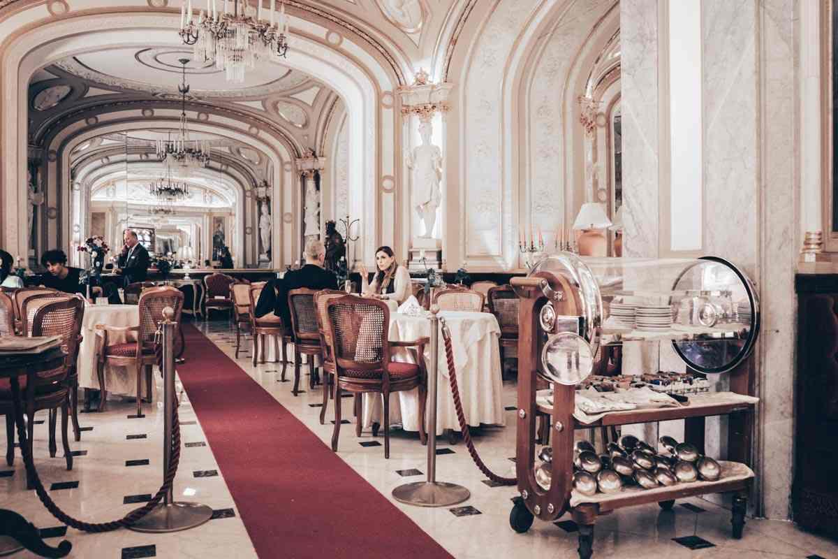 Naples: People dining inside the elegant Gran Caffè Gambrinus