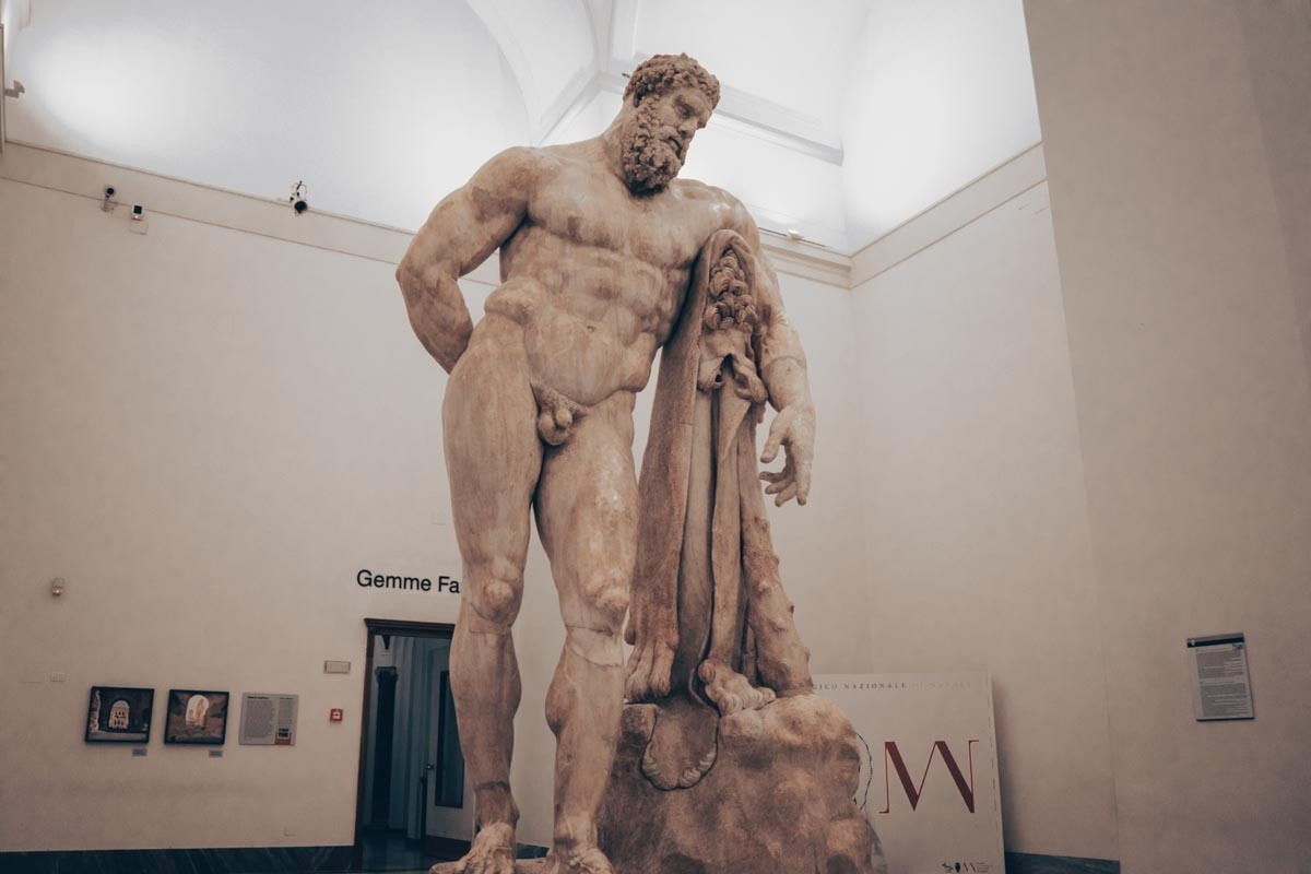 National Archaeological Museum of Naples: The monumental Farnese Hercules sculpture
