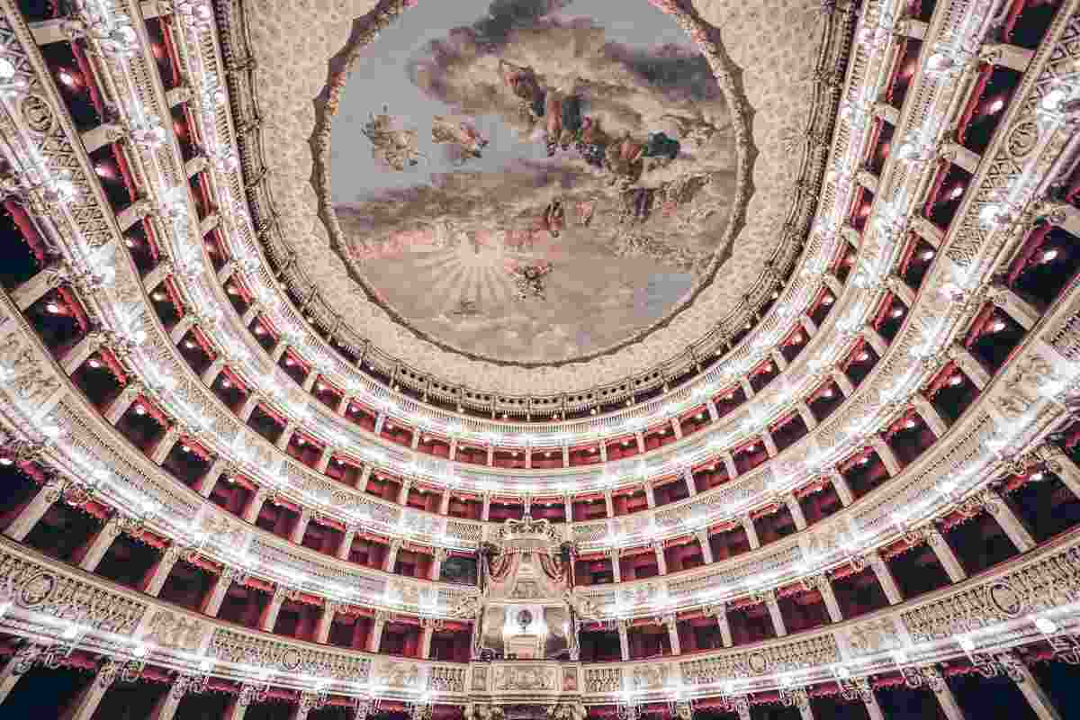 Naples San Carlo Theatre: The six-tiered gilded horseshoe shaped interior of the opera. PC: Isogood_patrick/shutterstock.com