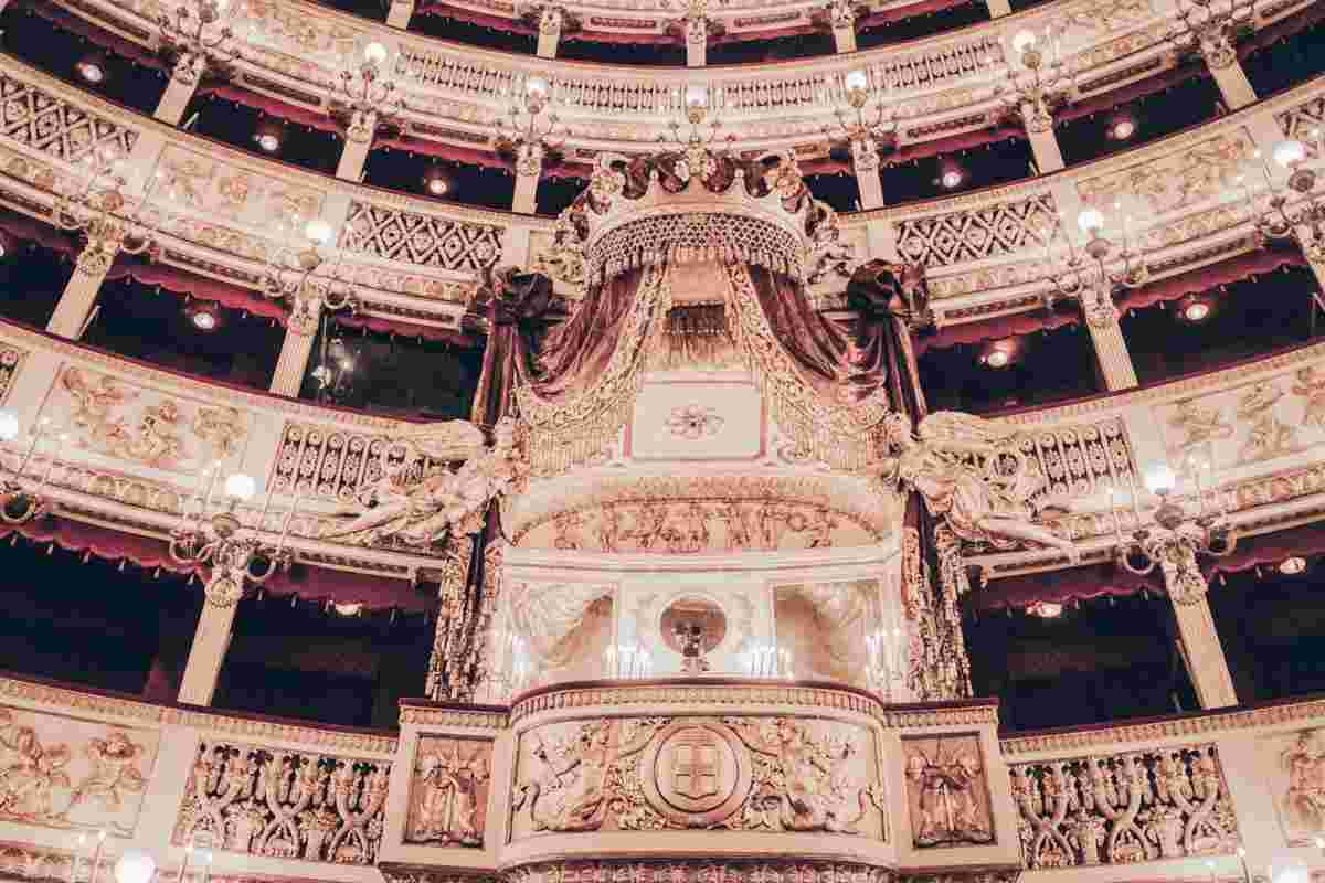 Naples Opera: The gold-studded Royal Box of the San Carlo Theatre.