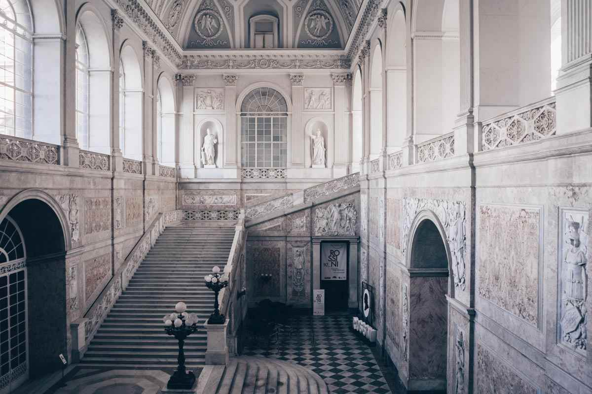 Royal Palace of Naples: The monumental pink and white marble staircase inside