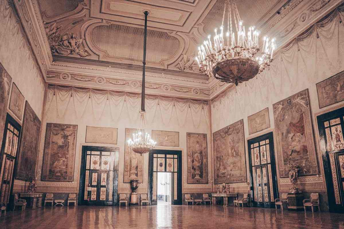 Naples Royal Palace: Tapestries and other artifacts in the lovely Hall of Hercules.