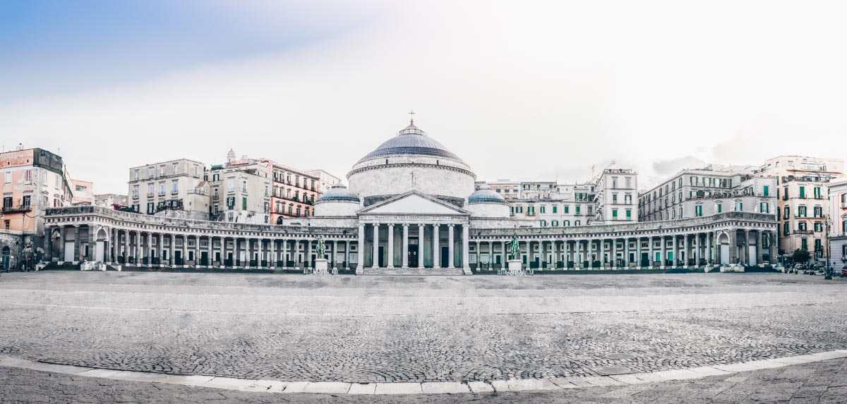 One Day in Naples: Piazza del Plebiscito with the sweeping colonnade of San Francesco di Paola Church.