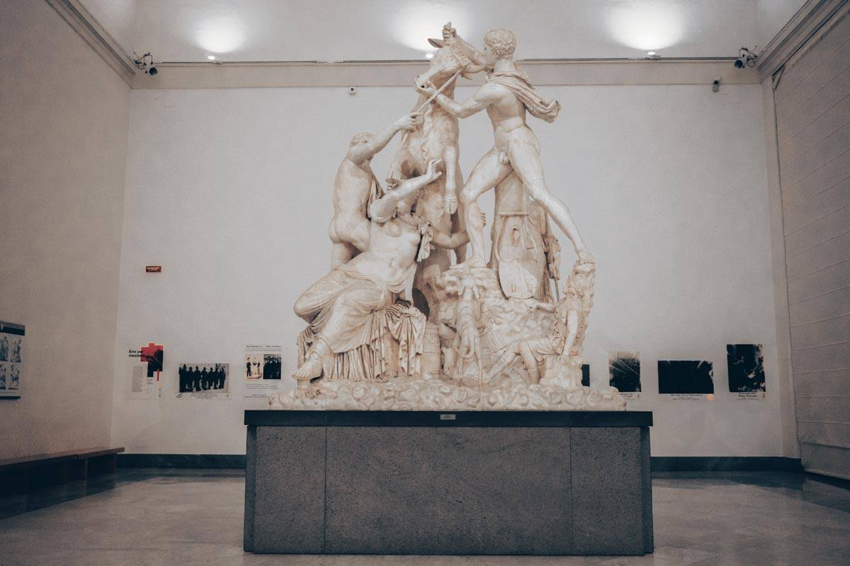 National Archaeological Museum of Naples: The tangled Farnese Bull sculpture