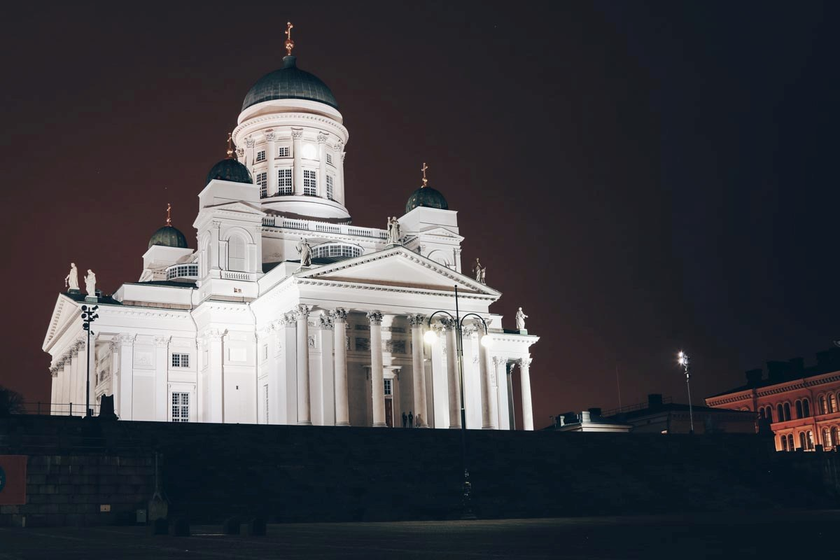 Helsinki attractions: The chalk white Helsinki Cathedral at night