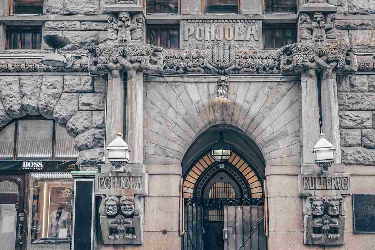 Helsinki attractions: Statues and monsters on the facade of the Pohjola Insurance Building. PC: Kiev.Victor/shutterstock.com