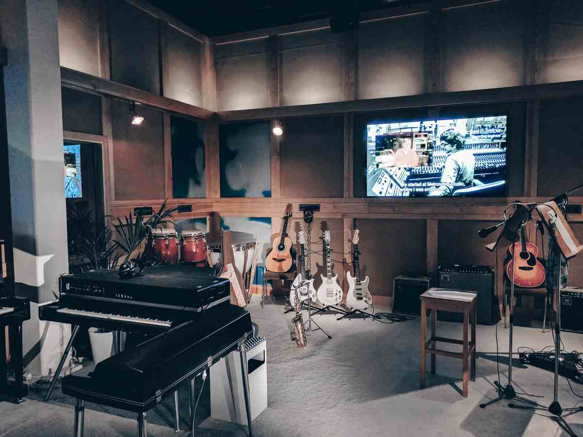Stockholm Attractions: Guitars and music recording equipment at the ABBA Museum