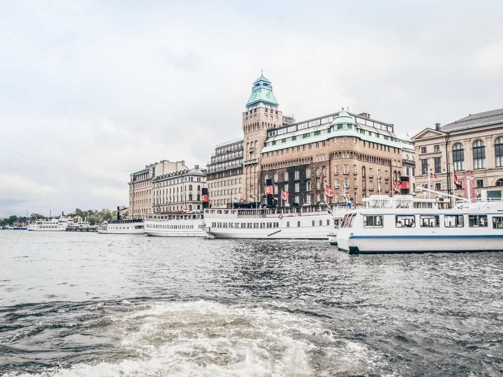 Stockholm sightseeing: View of canal boats in Stockholm from the water