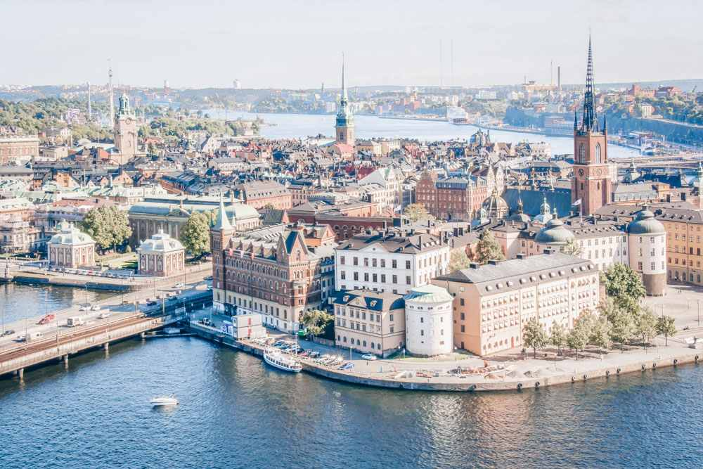 Must-see Stockholm: Aerial view of the Stockholm Old Town (Gamla Stan) in summer.