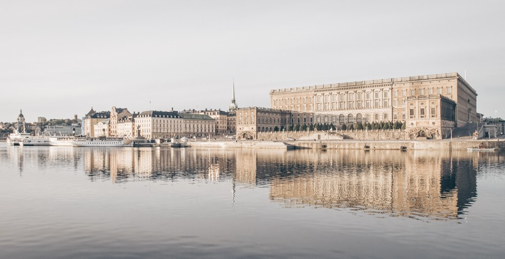 Must-see Stockholm: View of the exterior of the Royal Palace from across the canal.