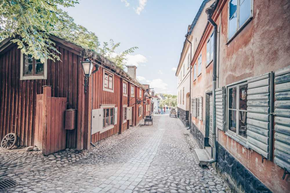Stockholm Skansen: Traditional old Swedish buildings on a cobblestone lane