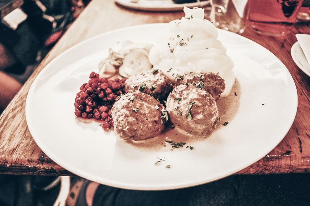 Swedish Cuisine: Swedish meatballs with mashed potatoes, and lingonberries