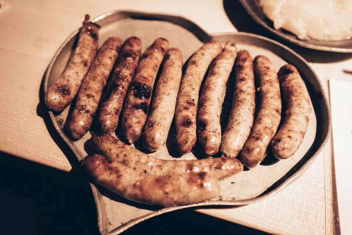 German cuisine: The classic Nuremberg bratwurst, a popular grilled sausage