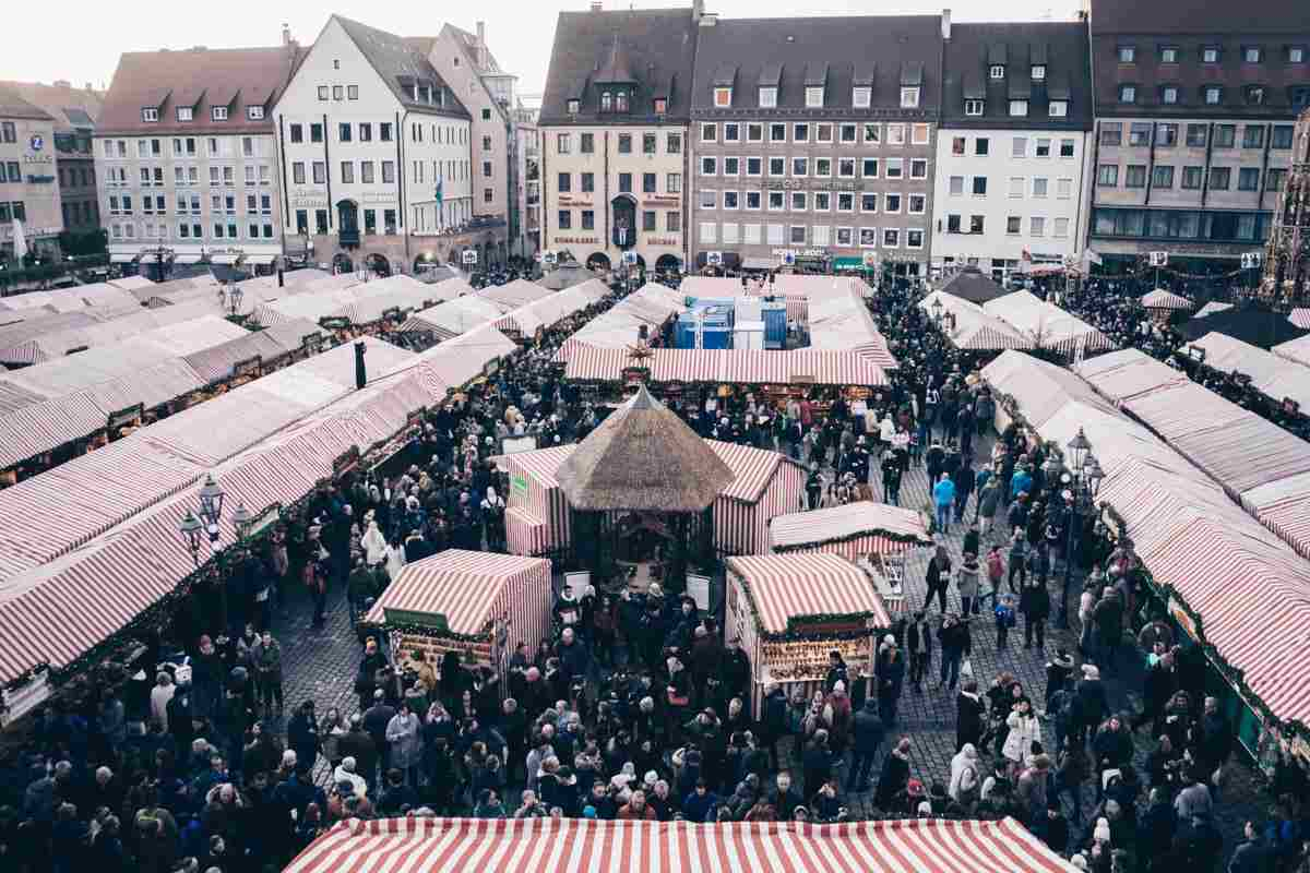 Things to do in Nuremberg: Various tents accommodating the stalls of the Nuremberg Christmas Market