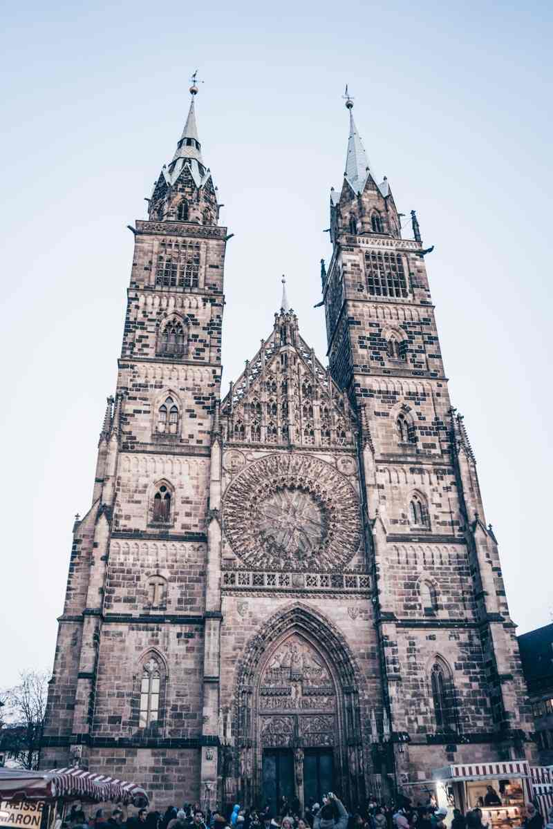 Points of interest in Nuremberg: Exterior of the massive, twin-towered Gothic-style Church of St. Lawrence