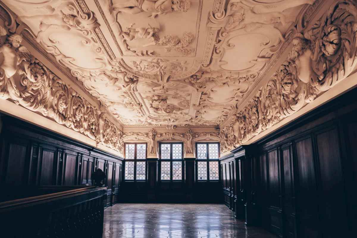 Nuremberg sights: A room with an exquisite stucco ceiling at the City Museum in Fembo House