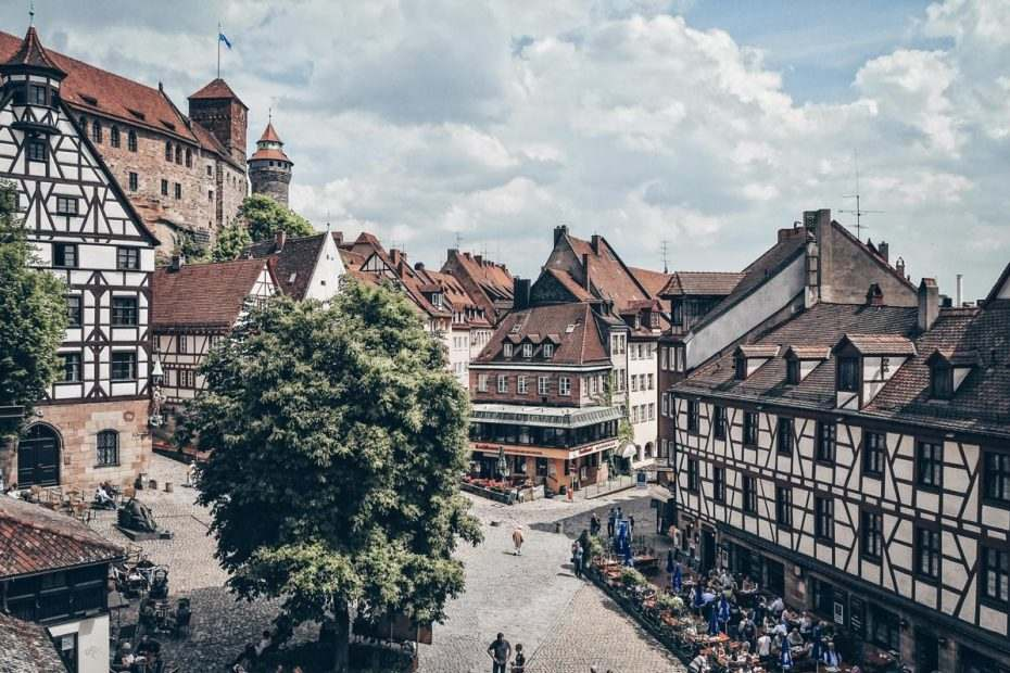 Things to do in Nuremberg: Tiergärtnerplatz, one of the loveliest medieval squares surrounded by half-timbered houses.