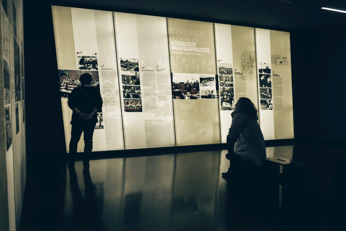 Must-see Nuremberg: People observing the exhibits at the Memorium Nuremberg Trials