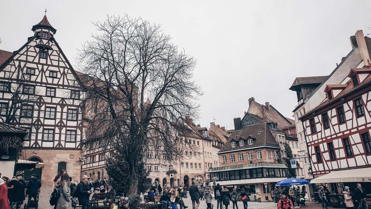 Instagram-worthy places in Nuremberg: Tiergärtnerplatz, a lovely square surrounded by half-timbered houses