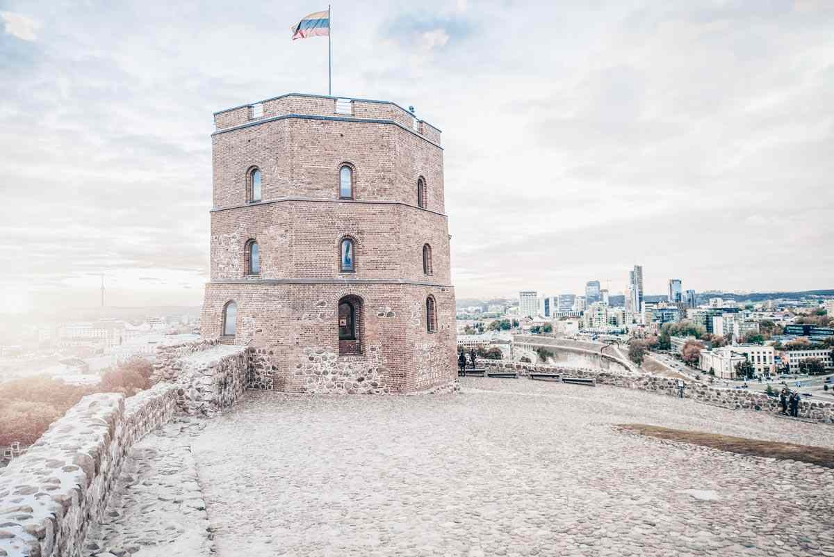 Things to see in Vilnius: Gediminas's Castle Tower with the Vilnius skyline in the background