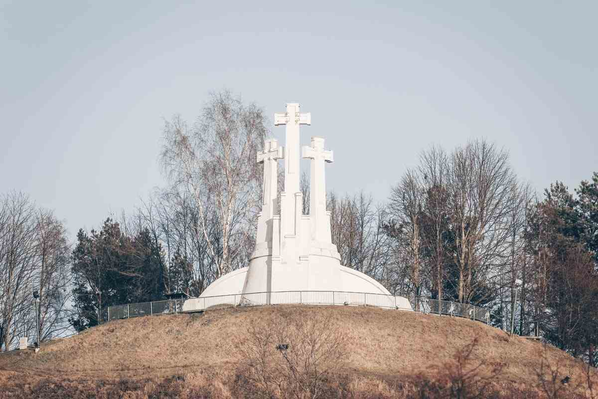 Vilnius landmarks: The striking white Hill of Three Crosses monument.