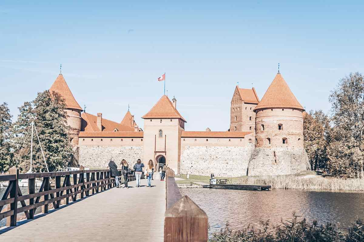 Trakai attractions. Trakai Island Castle on Lake Galve