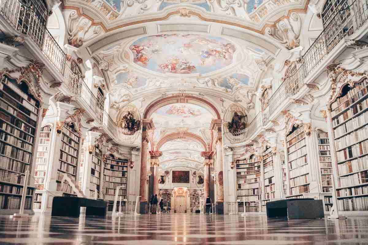 Austria sightseeing: Stupendous Rococo interior and ceiling frescoes of the Admont Abbey Library