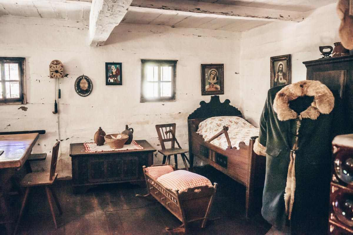 Styria attractions: Interior of a traditional manor house at the Austrian Open-Air Museum