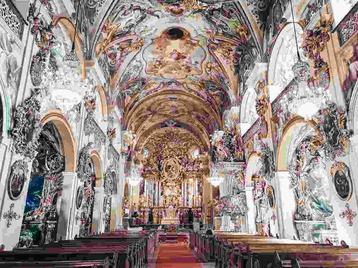 Beautiful places in Austria: Dizzying array of frescoes and ornate interior of the Vorau Abbey church