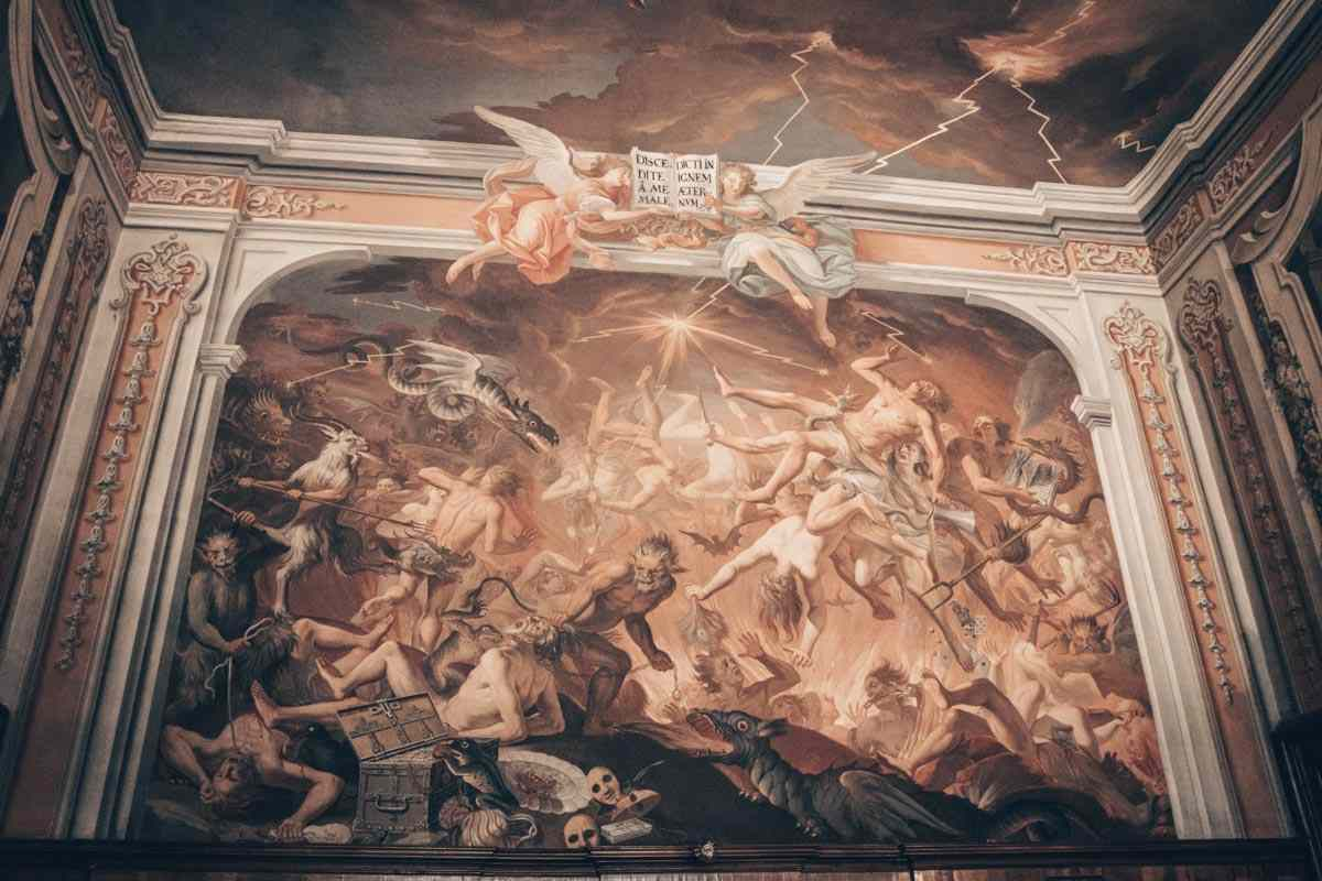 Vorau Abbey church: Beautiful painting of the Last Judgement inside the sacristy