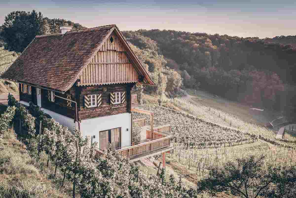 Austria sightseeing: House in the middle of vineyards along the Styrian Wine Roads