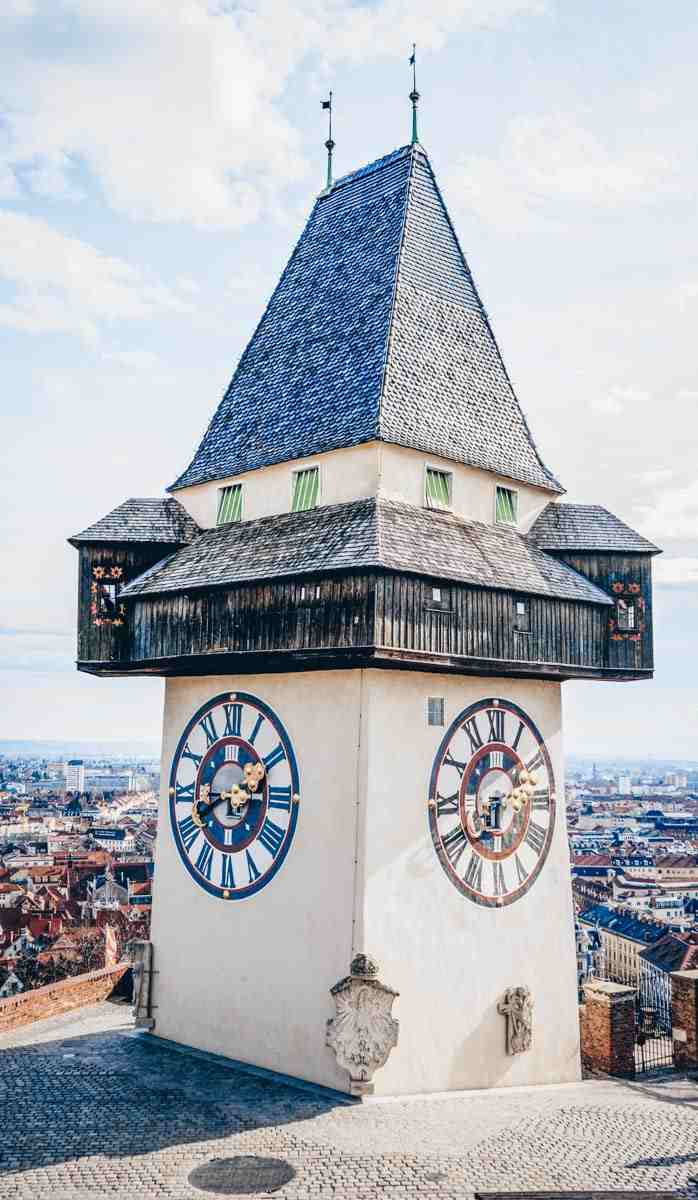 Graz Landmarks: The chunky Graz Clock Tower (Uhrturm), a symbol of the city
