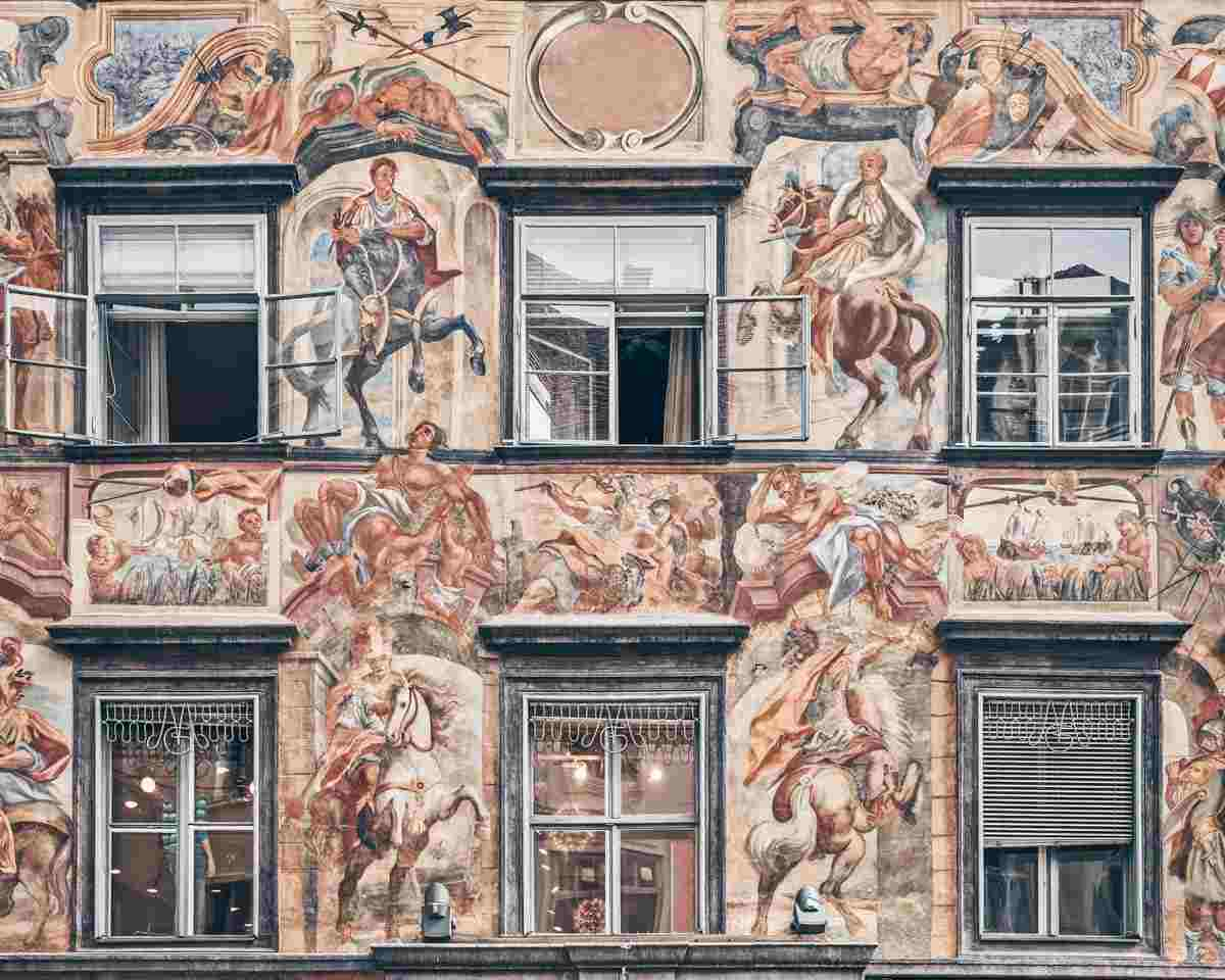 Graz sightseeing:  colorful frescoes depicting the hierarchy of Greco-Roman gods of the Painted House