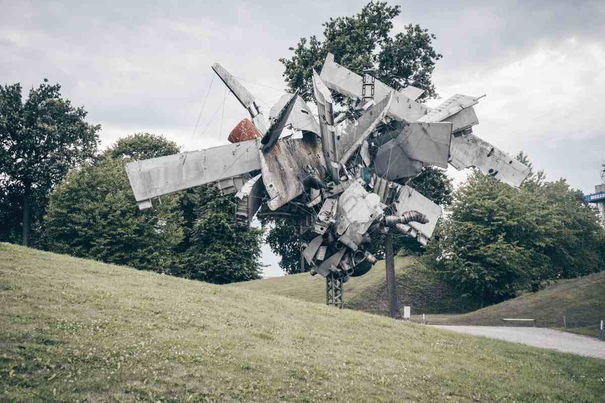 Things to do in Graz: Airplane parts on display at the Austrian Sculpture Park