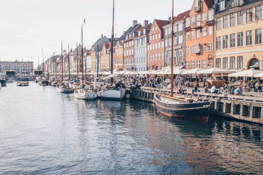 Copenhagen attractions: People sitting along the waterfront of the Nyhavn canal