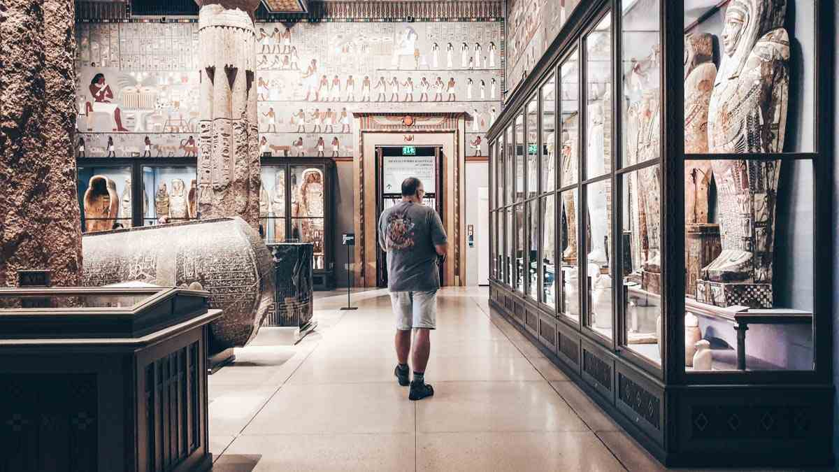 Stone sarcophagi and pharaoh statues at the Art History Museum in Vienna