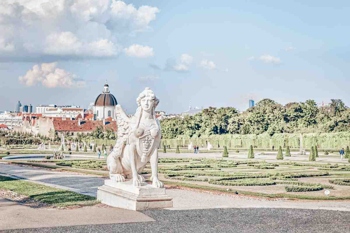A giant sphinx statue in the Belvedere Palace Gardens