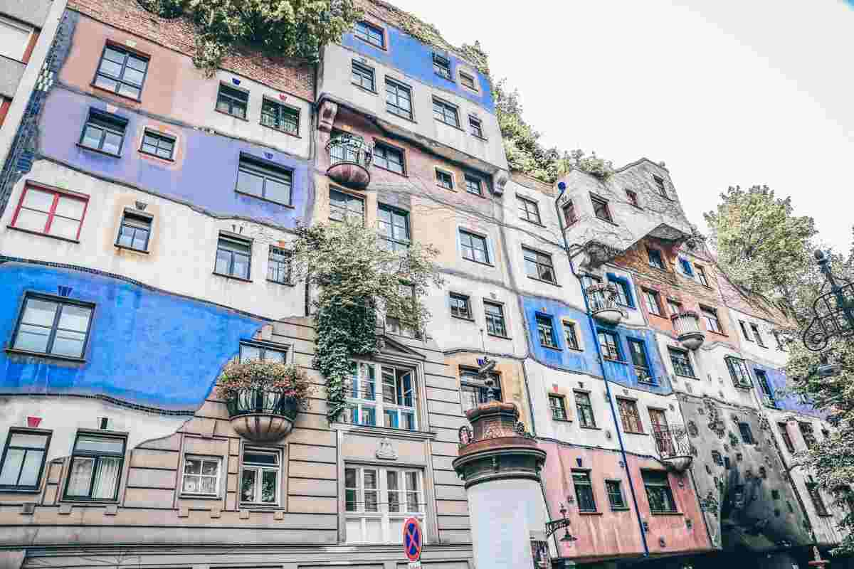 The wacky, multicolored facade of the Hundertwasser House in Vienna