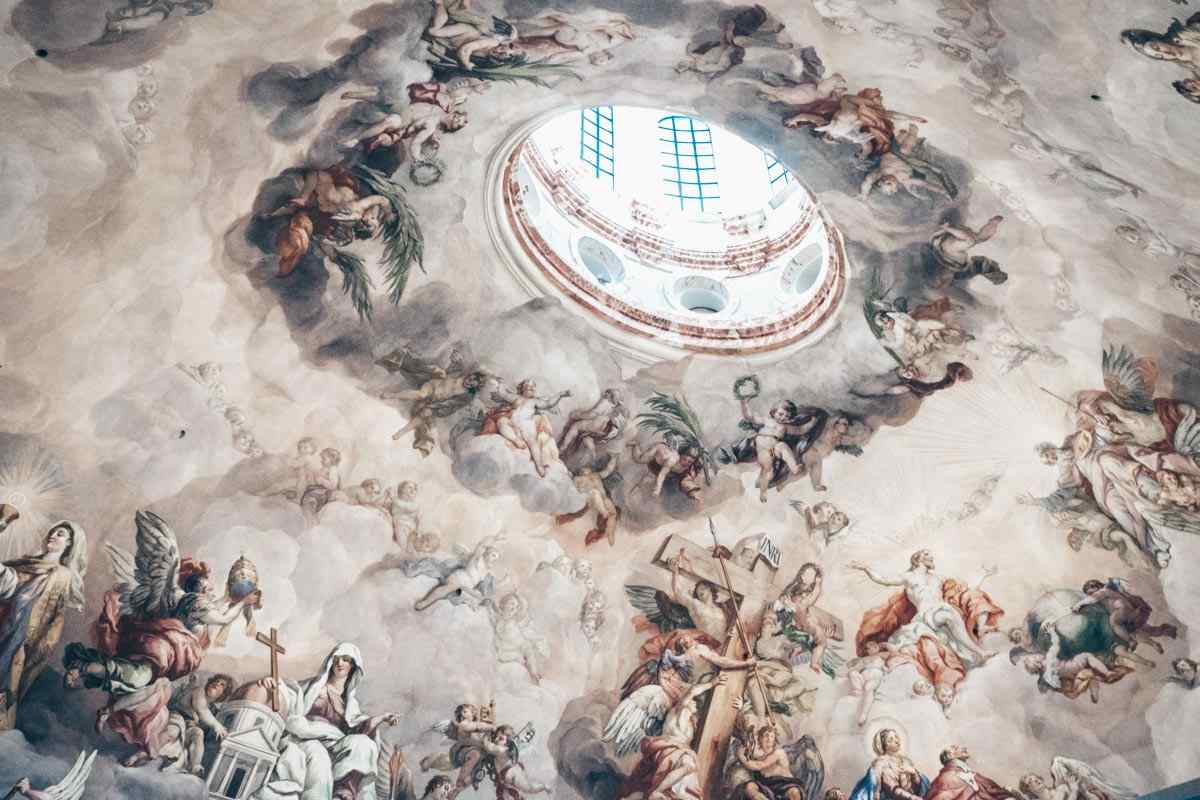The colorful dome fresco of the Church of St. Charles (Karlskirche)