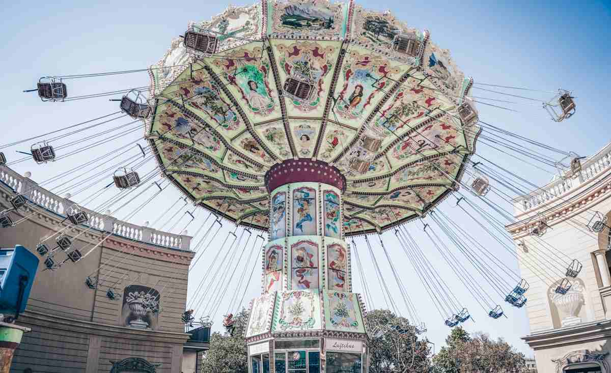 A swirling carousel at the Prater in Vienna