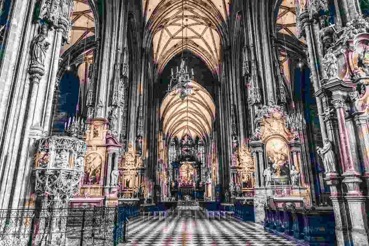 The huge nave of the St. Stephen's Cathedral in Vienna