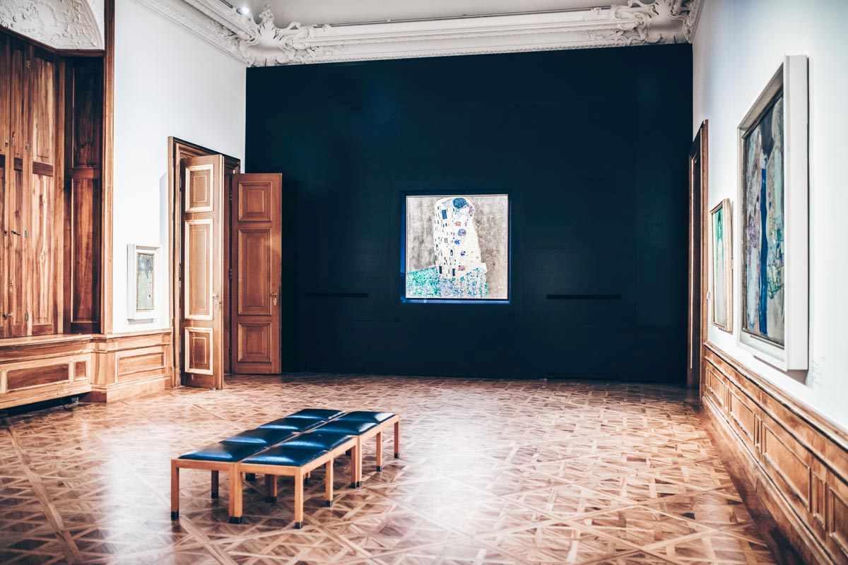 "Gustav Klimt's famous ""The Kiss"" painting at the Upper Belvedere Palace. PC: BondRocketImages/shutterstock.com"